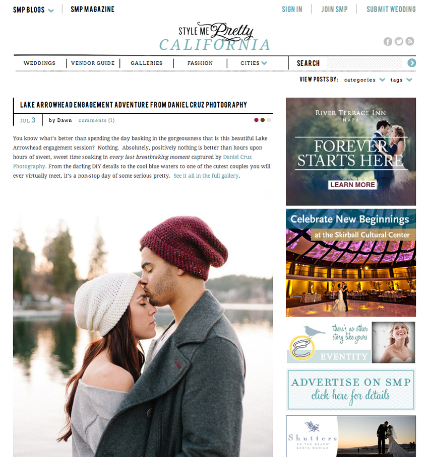Style Me Pretty Feature Lake Arrowhead Engagement Adventure Daniel Cruz Blog New York